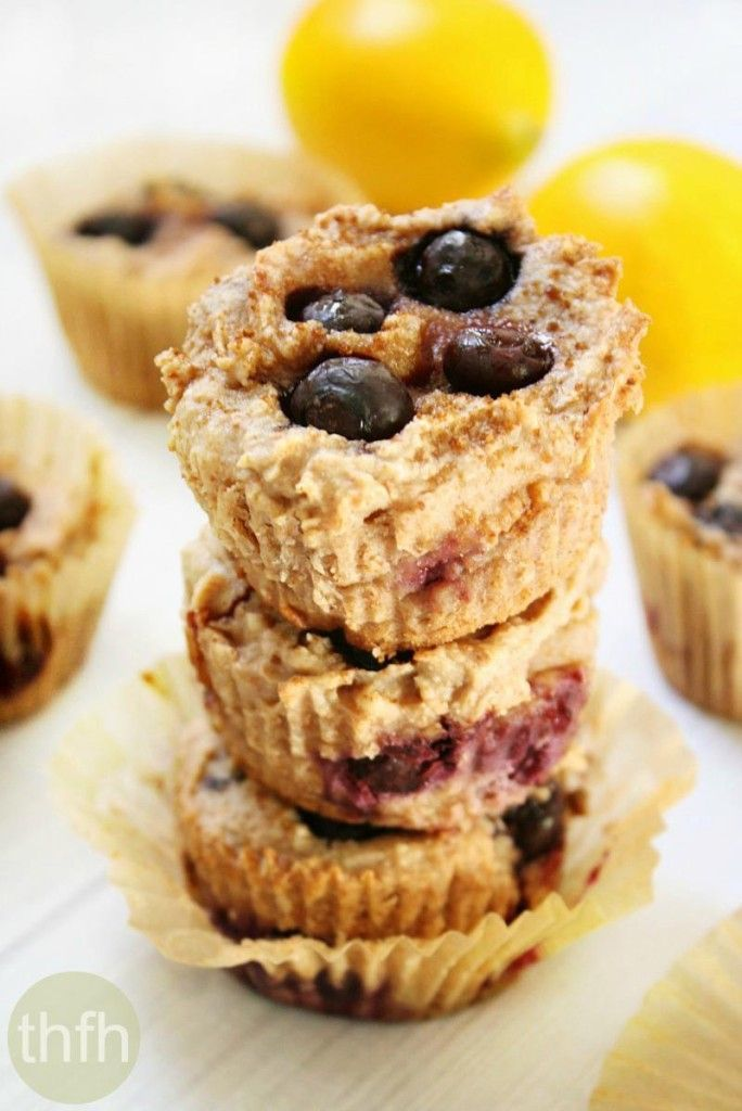 Vegan Lemon Blueberry Blender Muffins...made with only 5 clean, whole food ingredients and they're vegan, gluten-free, dairy-free, grain-free, flourless, egg-free, paleo-friendly and contain no refined sugar | The Healthy Family and Home