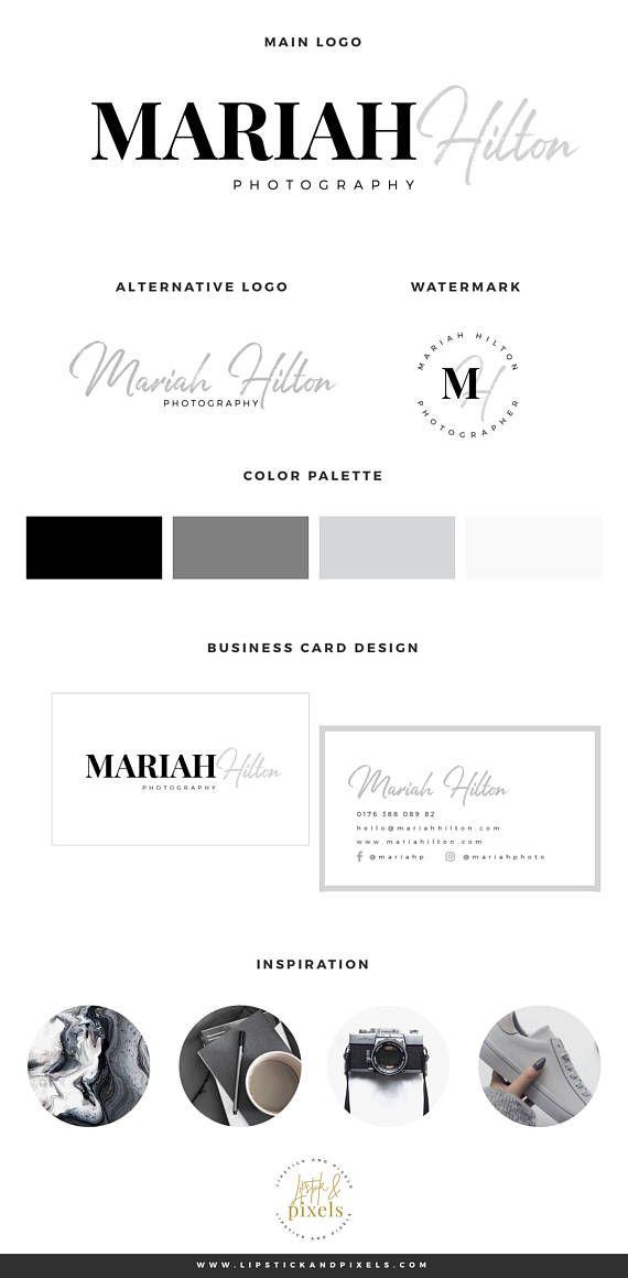 "Logotipo de fotografía prefabricada, diseño de logotipo prefabricado, logotipo gris, logotipo de caligrafía, kit de marca, kit de marca prefabricado, kit de marca de blog, logotipo de blog   – ""~*The Etsy Mini Viral Mall~*"""