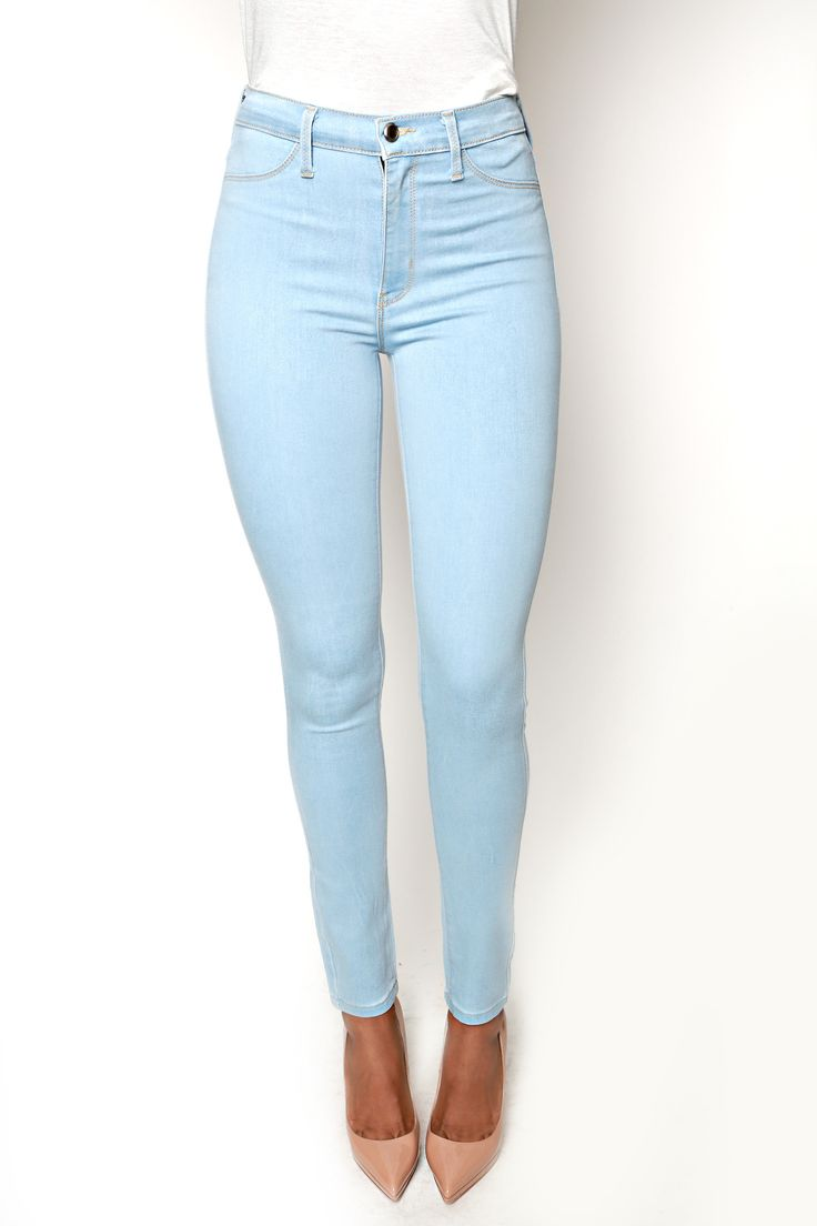 Elegant Light Blue Mid Women Jeans Thin Pockets Long Pants Fashion All Season