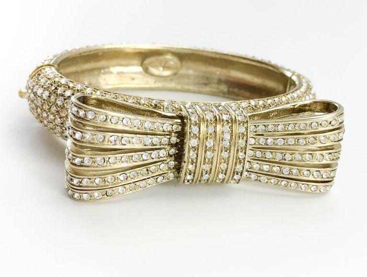 1980s Valentino Gilt Diamanté Bow Bracelet