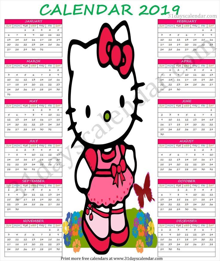 2019 Calendar Cute Printable Cute Calendar 2019 Pinterest