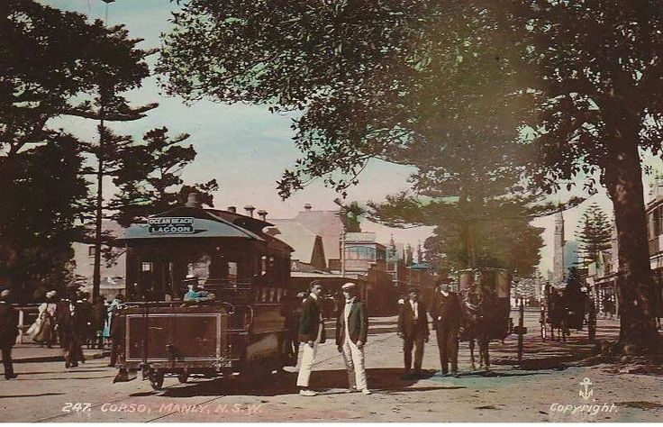 Manly's horse tram, traveling from the Ocean Beach on The Corso, Manly, to the Lagoon in Manly, NSW. (Photo undated). v@e