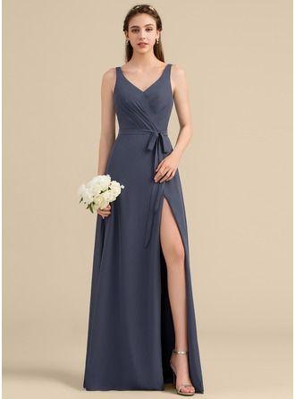 148c18d6400e8 14: JJs A-Line/Princess V-neck Floor-Length Chiffon Bridesmaid Dress With  Ruffle Bow(s) Split Front #153332, JJsHouse.co.uk Yes: M, K, L
