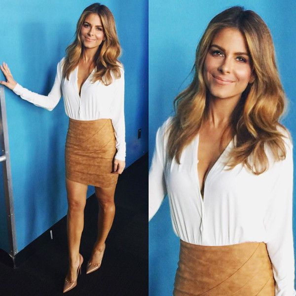 "Maria Menounos from E! News Look of the Day ""Friday Fashion for @enewsDress: @houseofcbShoes: @louboutinworldRing: @ccskyeCheck out our show tonight at 7&11pm on E!"""