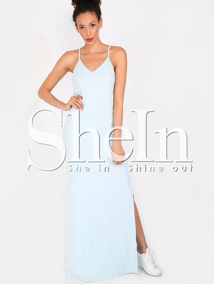 Светло-синее+макси+платье+с+разрезом+на+бретельках+1105