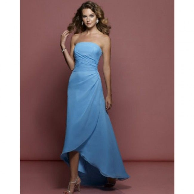Elegany Satin Sheath/Column Strapless Spring Sleeveless Natural Ink Blue Special Occasion Dresses