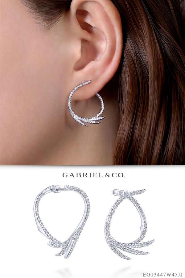Round 3mm Huggies Little Textured Hoop Small Diamond Cut 14k White Gold Earrings