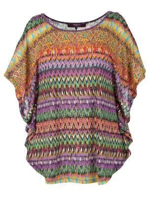 Inspire Purple Aztec Batwing Top