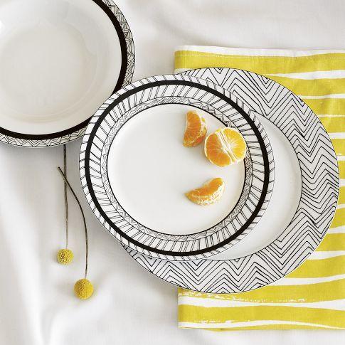 Glazed Porcelain Chevron Sketch Dinnerware by West Elm