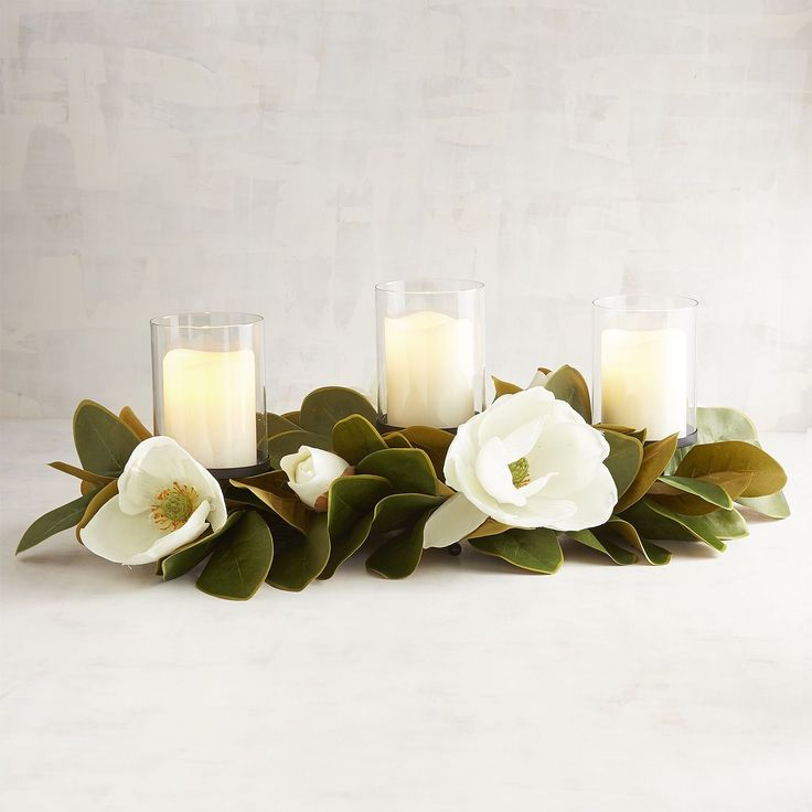 Faux Magnolia Centerpiece Candle Holder