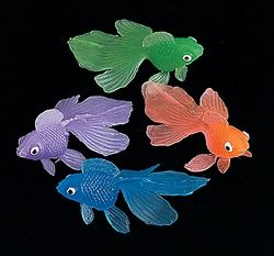 Colourful Goldfish Table Scatters (35).  These 5.1cm vinyl goldfish will add some colour to your party! Use these fish to create unique place setting cards or table scatters!  (pack of 35; assorted colours)