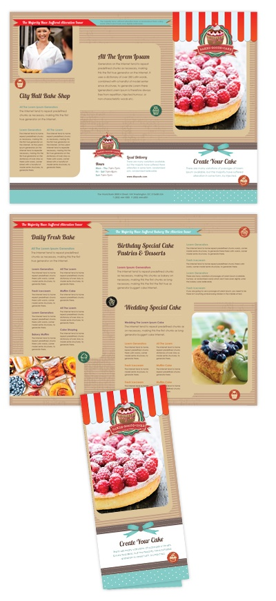 good brochure templates - cake shop menu template will be a good choice for