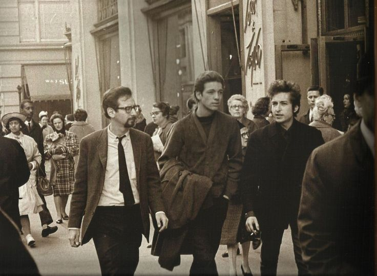 """dylanordie-babe: """"Peter Yarrow, Richard Farina, and Bob Dylan, West side of broadway between 19th and 20th. """""""