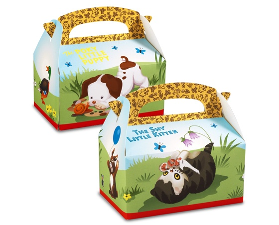 Super cute! Would be great for a birthday party or reading party! Little Golden Books Favor Boxes The Poky Little Puppy and The Shy Little Kitten