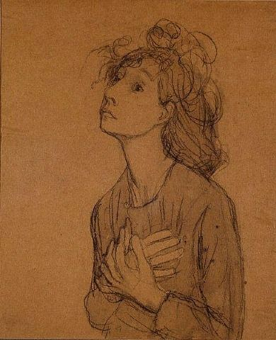 "Gwen John . Etude pour ""Les Suppliantes"" . Drawing Pencil and wash on brown paper"