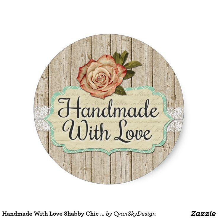 Handmade with love shabby chic roses wood classic round sticker craft marketsmarketing brandingbusiness