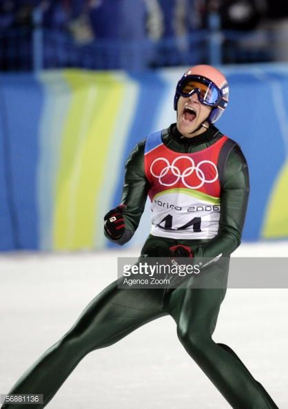 t Andreas Kofler of Austria celebrates his silver medal in the Large Hill Individual Ski Jumping Final on Day 8 of the 2006 Turin Winter Olympic...