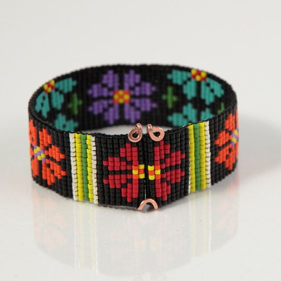 SALE Colorful Flowers Beaded Cuff Bracelet Native by PuebloAndCo