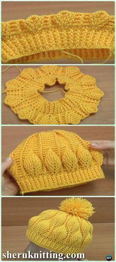Crochet 3D Embossed Leaf Beanie Free Pattern [Video] - Crochet Beanie Hat Free Patterns