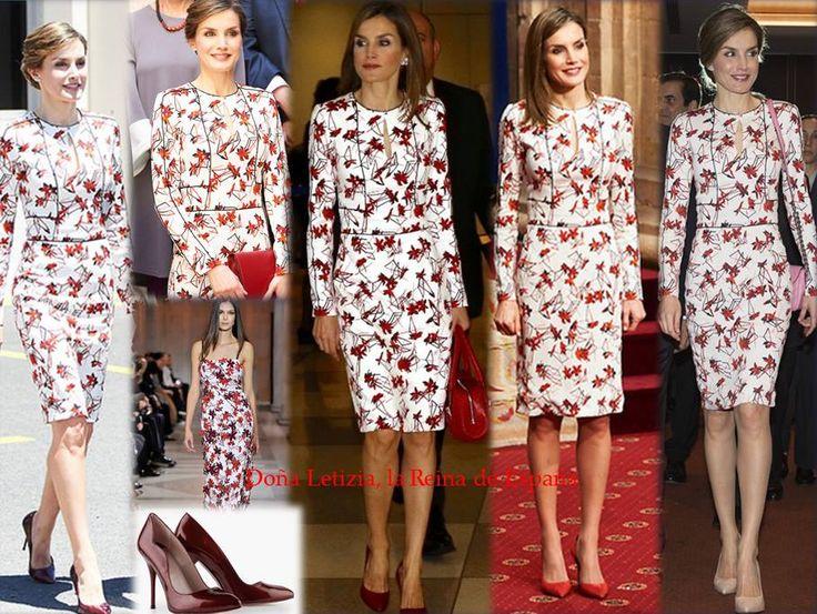 Queen Letizia wore a dress of Carolina Herrera, shoes of Lodi. The dress she already worn in September 2016, Otober 2016, March 2017