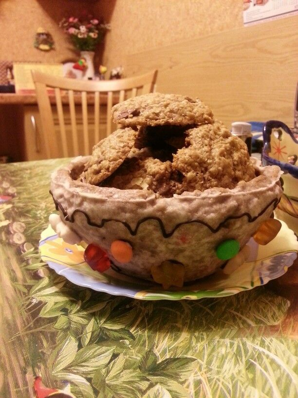 Gingerbread cup with oatmeal chocolate chip cookies  inspired by food network