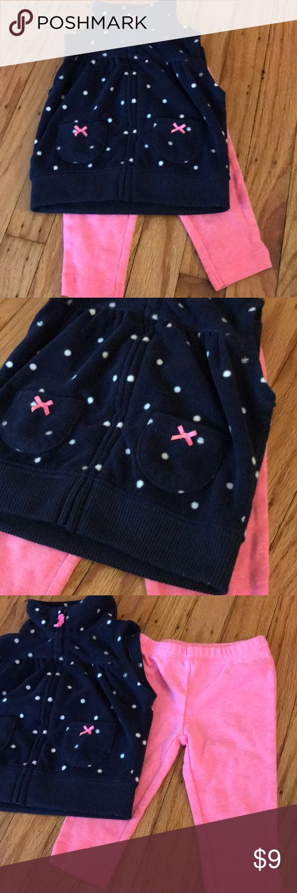 Baby girl vest set Soft fleece feel navy blue and white polka dot vest with coordinating pants Carter's Matching Sets