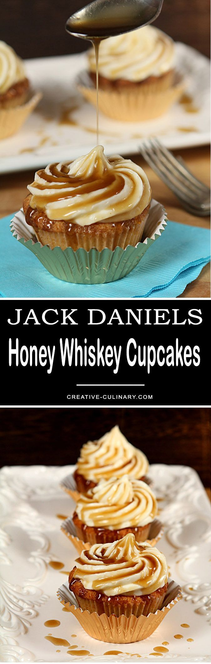 These Jack Daniels Honey Whiskey Cupcakes with a Boozy Drizzle are completely decadent and the most popular recipe on my blog; you must try them! via @creativculinary