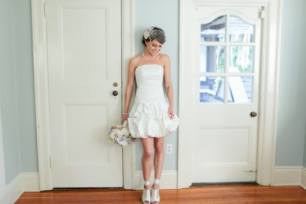 This short #bridal dress is so cute! From http://stylemepretty.com/gallery/picture/695458  Photo Credit: http://jamiedelaine.com/  Dress by http://andreatuckerdesigns.com/