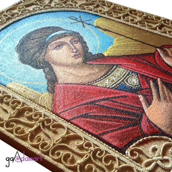 Sf. Inger - icoana pictata pe panza cu macrame
