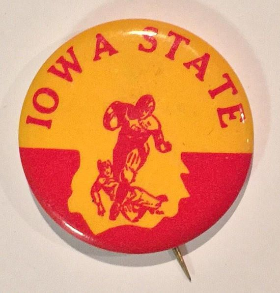 This listing is for a Vintage Circa 1940s Iowa State University Football Pin. This pin measures 1.75 inches in diameter.