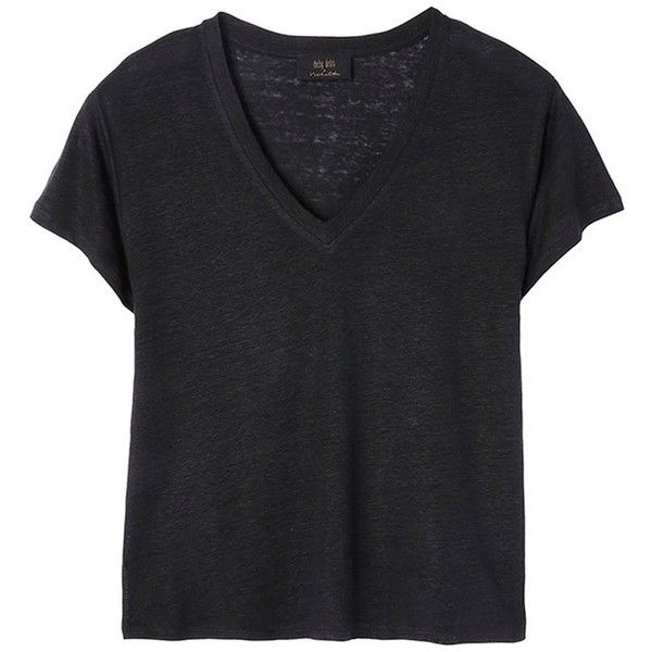 Women Maxi Black t-shirt in linen by Deby Debo found on Polyvore featuring tops, t-shirts, shirts, linen tee, maxi top, linen tops, maxi t shirt and linen t shirt