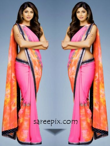 Shilpa shetty saree on Best deal TV ad. The yoga babe is eye catchy in multi color printed saree with sleeveless blouse.