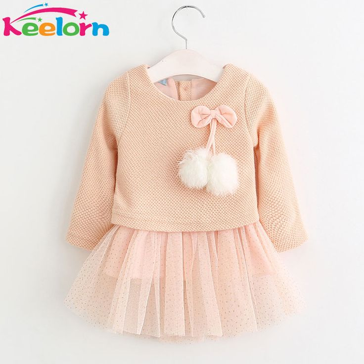 Keelorn Baby Girl Dress 2017 New Casual Autumn Baby Clothes Long Sleeve Plaid Bear Straps Fake Two Piece Dress baby girl clothes