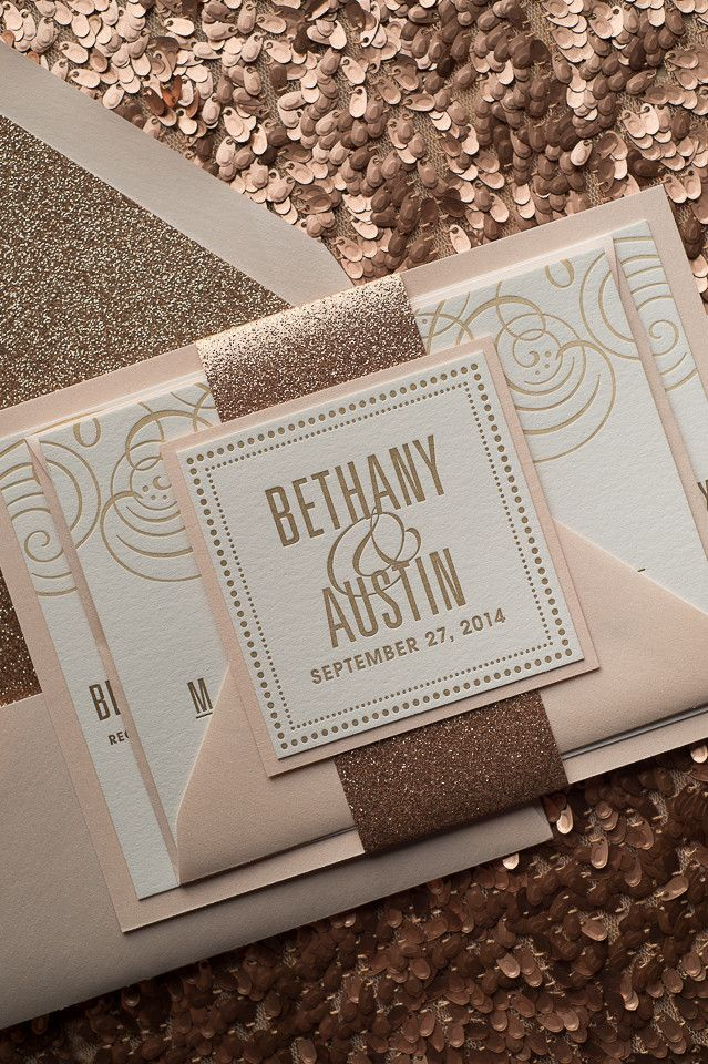 Fancy rose gold invitation and packaging.