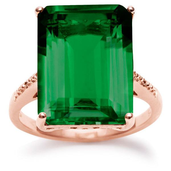 11 Carat Emerald Shape Green Amethyst and Diamond Ring In 14K Rose... ($80) ❤ liked on Polyvore featuring jewelry, rings, 14 karat gold ring, sterling silver green amethyst ring, rose gold diamond ring, 14k ring and sterling silver jewelry