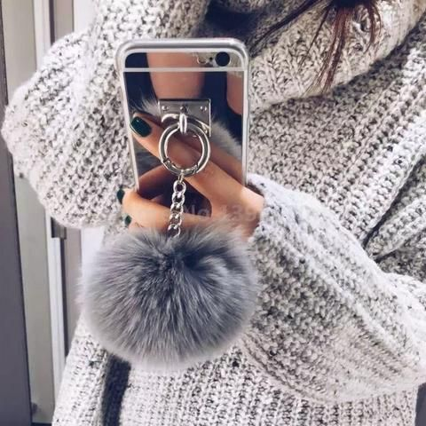 Silver Luxury Metal Rope Mirror Tassel phone Capa fake rabbit fur ball For iPhone 7 7Plus 6 6S 6plus 4 5 S 5S SE Back Cover Case