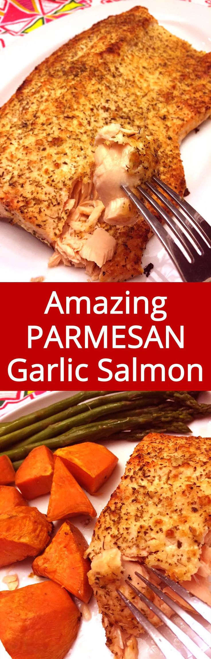 Crispy Parmesan crust on the outside, succulent salmon on the inside - this is my favorite salmon recipe ever! | MelanieCooks.com