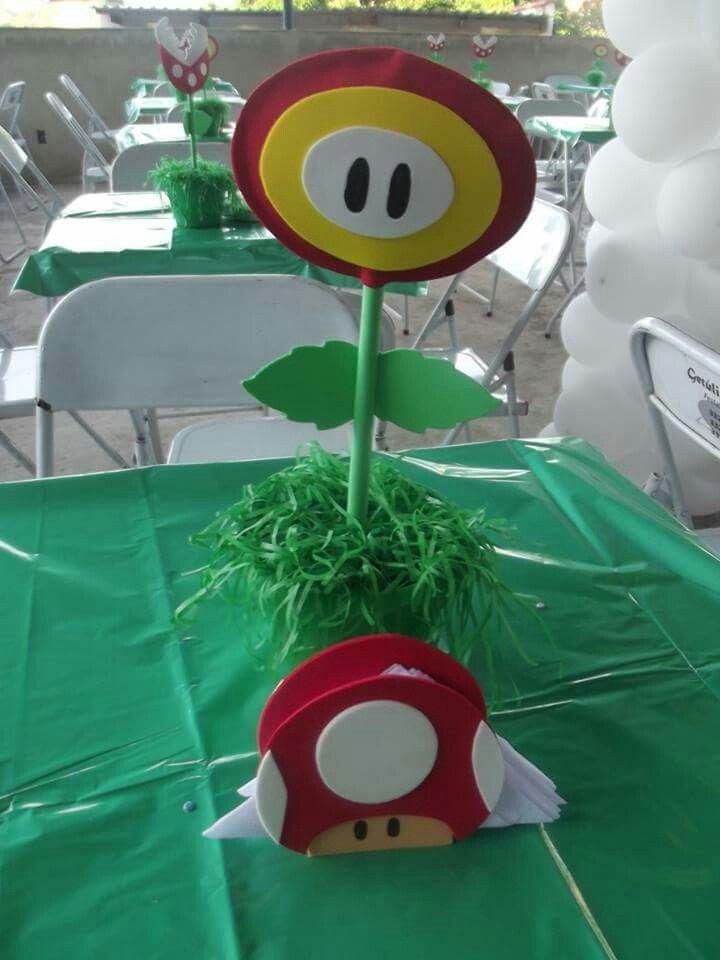 Centro de mesa e porta guardanapos | Festa Mario Bros ...