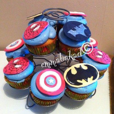Super hero cupcakes. Batman dark knight, Spider man, captain America