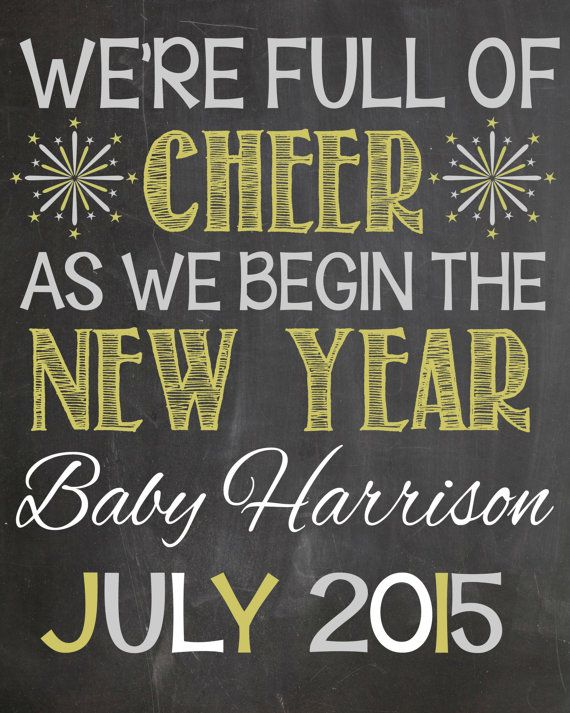 New Year's Pregnancy Announcement Chalkboard by LaLaExpressions