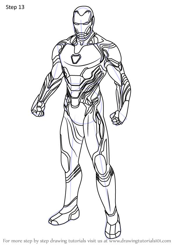 Learn How to Draw Iron Man from Avengers Endgame (Avengers