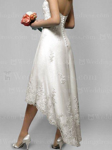 Strapless short wedding dress with high-low hemline