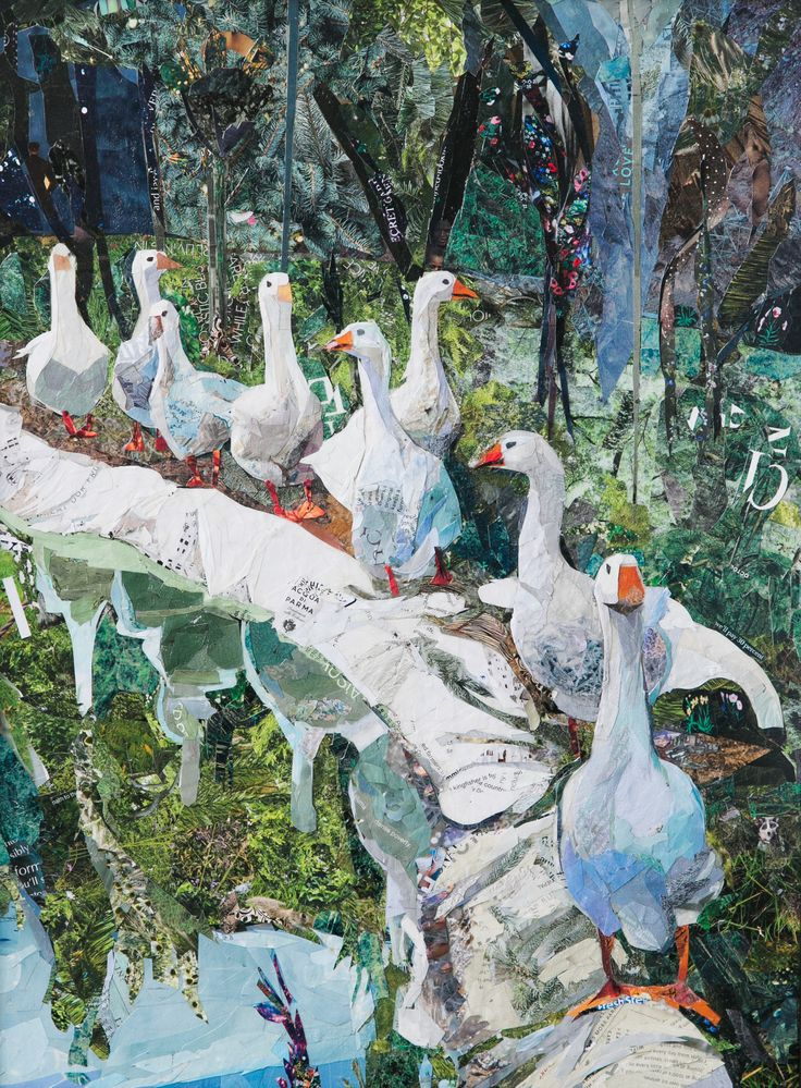 """Mauro's #Geese, 15"""" x 20"""" magazine collage for sale as a giclee print #collage #magazine #italy #tranquil #pond #ducks #nature #animals #forest #farm #europe #ladolcevita #spotlight #bluelight"""