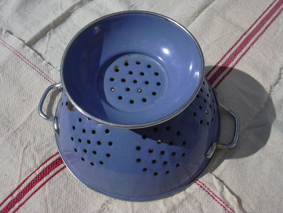 Antique French enameled colander fruit dryer by MyNiftyBrocante, €26.00
