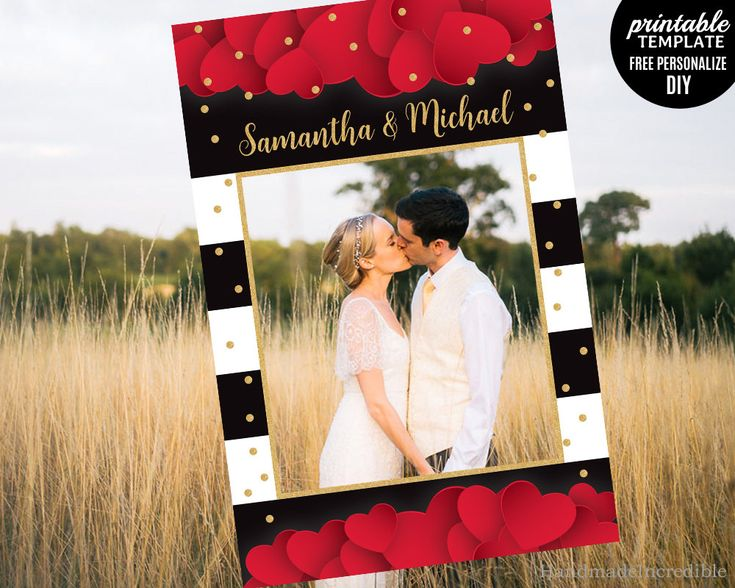 Valentine Photo Prop Frame Template. Printable Love Photo Prop Booth. Heart Gold and Black Love Photo Prop Frame. Download PDF http://etsy.me/2D3RSqN #papergoods #red #wedding #valentinesday #black #valentine #day #love #photo