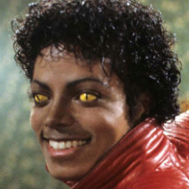thriller michael jackson is a singer but his eyes look