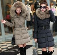 2014 winter new thickening with fur hood down coats Slim woman jackets Long ladies parka jacket warm outwear tops plus size