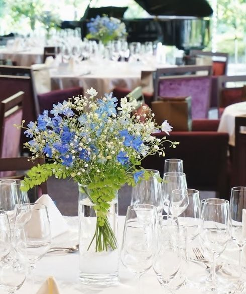 # novarese#VressetRose #Wedding #blue #white#kitayamamonorith #natural #Flower #Bridal #ノバレーゼ#ブレスエットロゼ#北山モノリス#ウエディング #meinnte-buru テーブル#会場装花#ブルー#トルコキキョウ#バンケット#結婚式