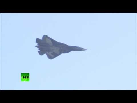 Russia : Displays the Sukhoi PAK FA T-50 Stealth Fighter Jet at MAKS Airshow (Aug 28, 2013)   SignsofThyComing