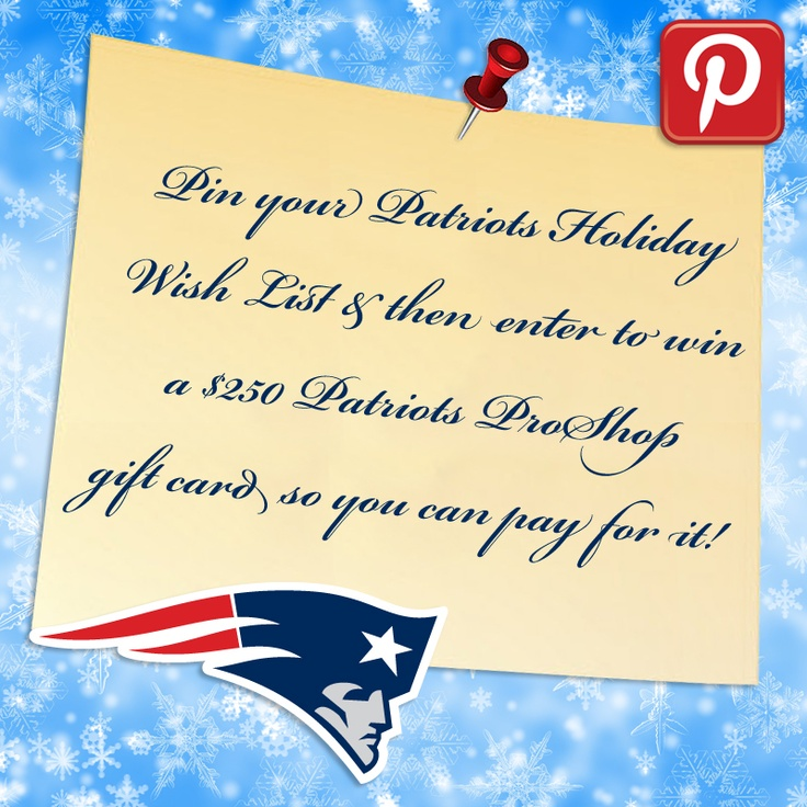 Love Pinterest & the #Patriots? Enter to win a $250 Patriots Pro Shop gift card!  http://www.patriots.com/fan-zone/pinterest-contest.html